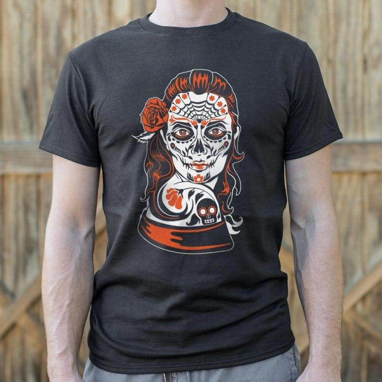 LS White Ink Puff Sugar Skull Day Of the Dead Dia De Los Muertos T-Shirt S-3XL
