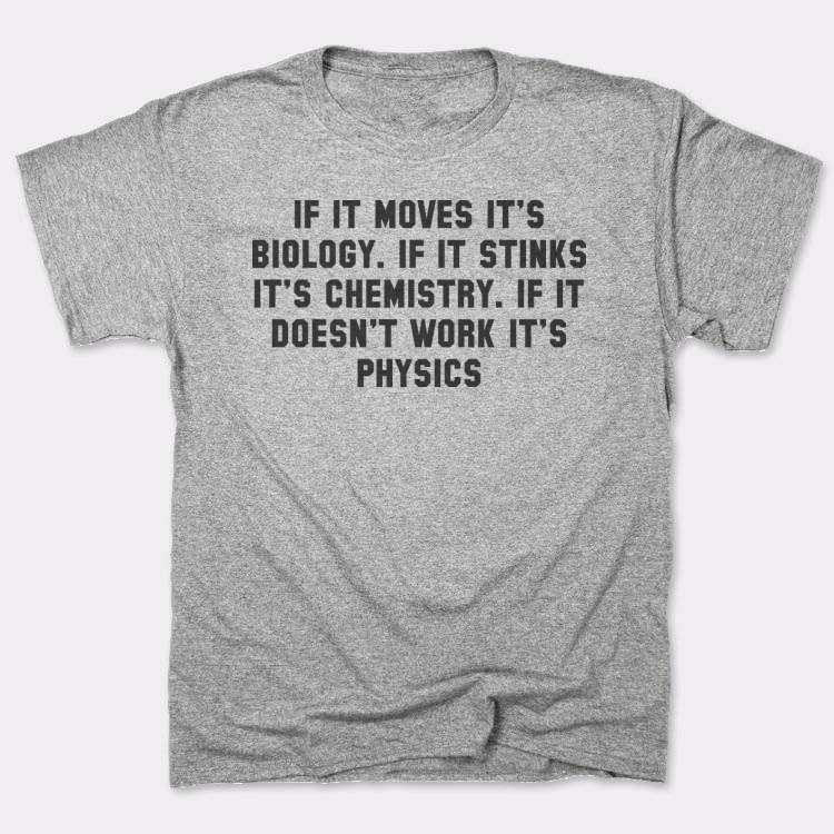 If it moves it's biology. if it stinks it's chemistry. if it doesn't work it's physics